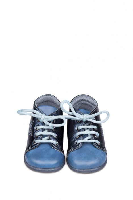 0119A4 Kifidis Melania Hakiki Deri İlk Adım Çocuk Ayakkabısı 19-24 Mavi / Blue