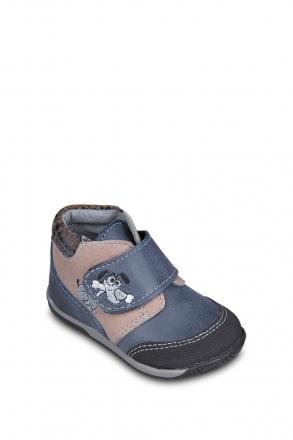 0126A4 Kifidis Melania Hakiki Deri İlk Adım Çocuk Ayakkabısı 19-24 Mavi / Blue