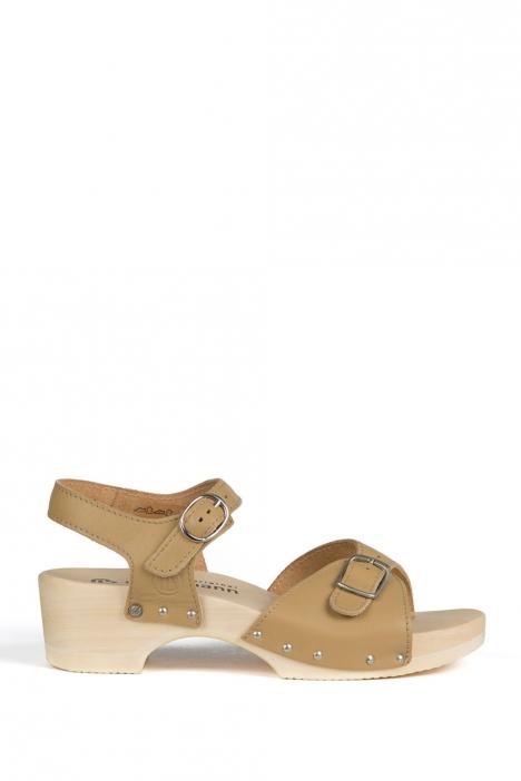 0164 Berkemann Kadın Ahşap Sandalet 36-40 Bej / Beige