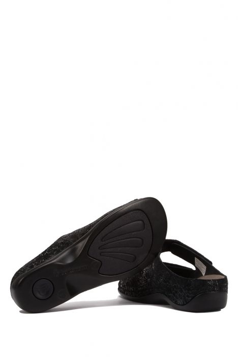 1027 Berkemann Kadın Anatomik Terlik 3.0-8.5 Siyah - Black/floral shiny-leather/stretch - 932B