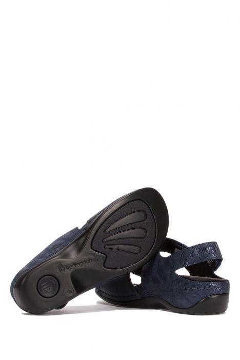 1040 Berkemann Kadın Anatomik Deri Sandalet 3.0-8.5 Blau/Wab/Shiny-Leder/Str.-319