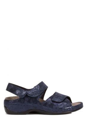 1040 Berkemann Kadın Aatomik Deri Sandalet 3.0-8.5 Blau/Wab/Shiny-Leder/Str.-319