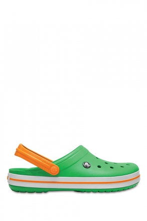 11016 Crocs Crocband Unisex Sandalet 36-44 GRASS GREEN WHITE / BLAZING ORANGE
