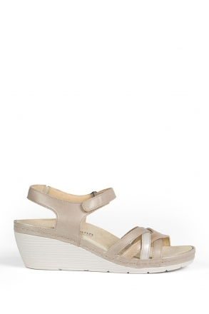 1221 Berkemann Kadın Anatomik Deri Sandalet 3-8,5 Br./Beige/Silver Perlato - 431