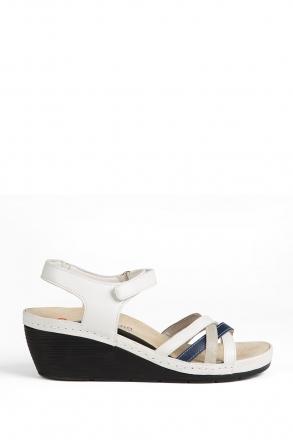 1221 Berkemann Kadın Anatomik Deri Sandalet 3-8,5 Weiss/Grau/Blau Leder - 131