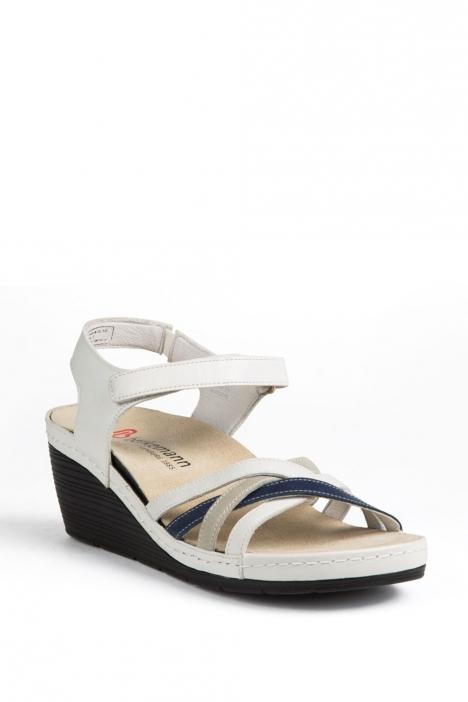 1221 Berkemann Kadın Sandalet 3-8,5 Weiss/Grau/Blau Leder - 131