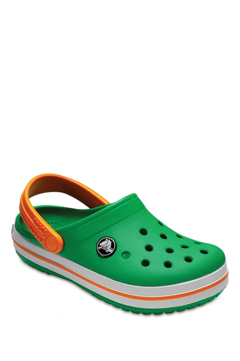 204537 Crocs Crocband Çocuk Sandalet 23-34 GRASS GREEN WHITE / BLAZING ORANGE