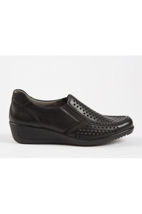 30601 Ara Kadın Dolgu Topuk Deri Ayakkabı 3,5-8,5 SCHWARZ - 08S