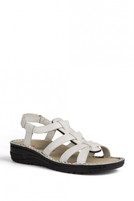 3105 Berkemann Kadın Anatomik Deri Sandalet 3-8,5 Weiss Kalbsleder - 101