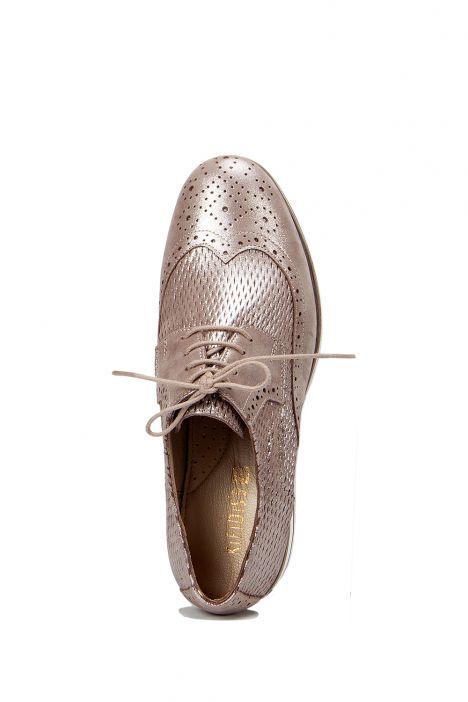 3926 Allium Kadın Ayakkabı 36-41 Vison Simli Nubuk