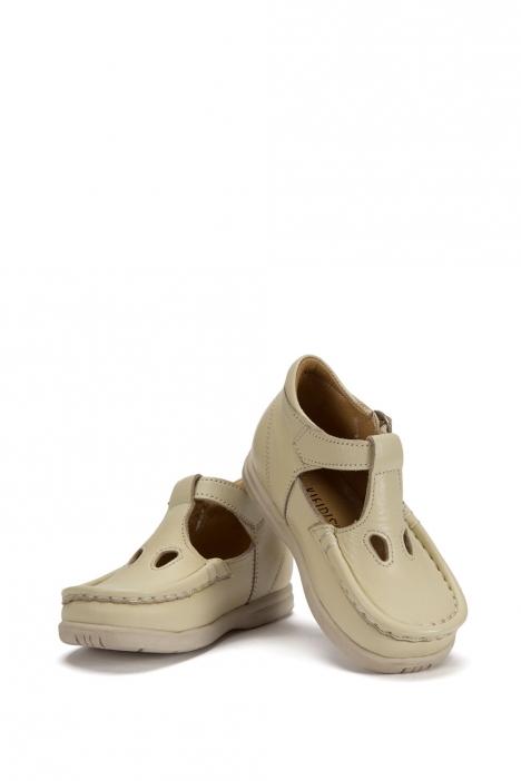 402 Kalite Çocuk Ayakkabı (Tokalı) 25-30 Bej / Beige