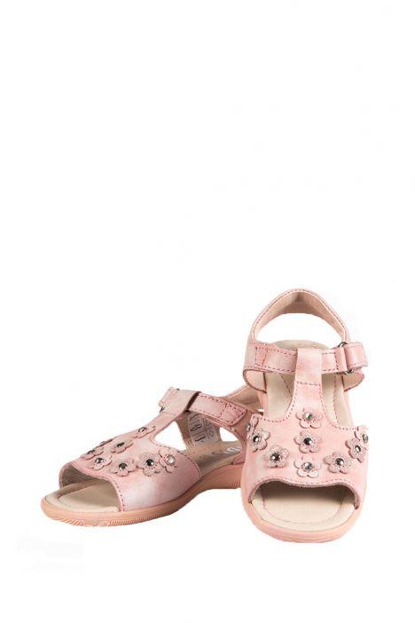 4091D4 Kifidis Melania Hakiki Deri Çocuk Sandalet 24-32 Pembe / Rosa