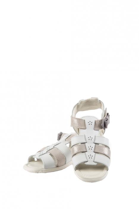 4196D4 Kifidis Melania Hakiki Deri Çocuk Sandalet 24-32 Beyaz / Bianco