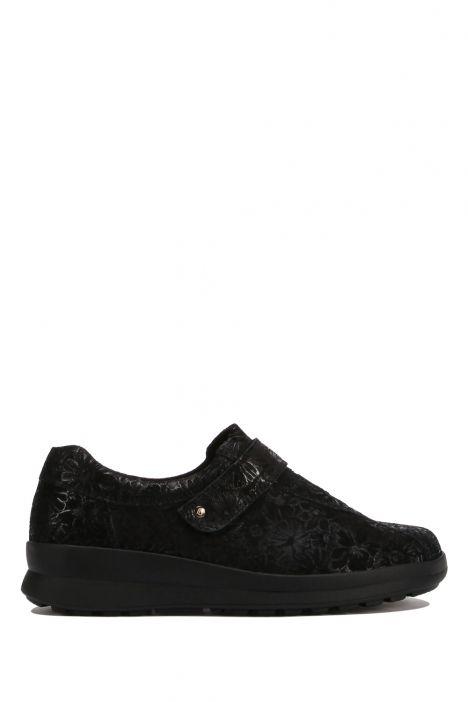 5351 Berkemann Kadın Anatomik Ayakkabı 3-8,5 Siyah - Black/floral shiny-leather/stretch - 932B
