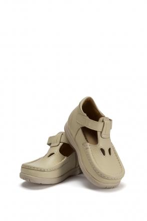 604 Kalite Çocuk Ayakkabı (Velkrolu) 25-30 Bej / Beige