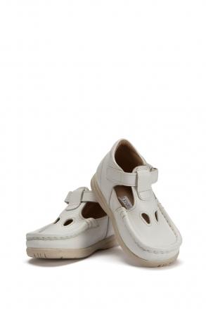604 Kalite Çocuk Ayakkabı (Velkrolu) 25-30 Beyaz / White