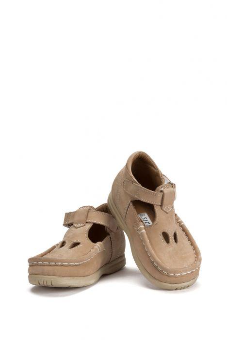 604 Kalite Çocuk Ayakkabı (Velkrolu) 25-30 Nubuk Bej / Nubuck Beige