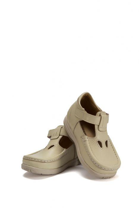 604 Kalite İlk Adım Çocuk Ayakkabısı (Velkrolu) 19-24 Bej / Beige