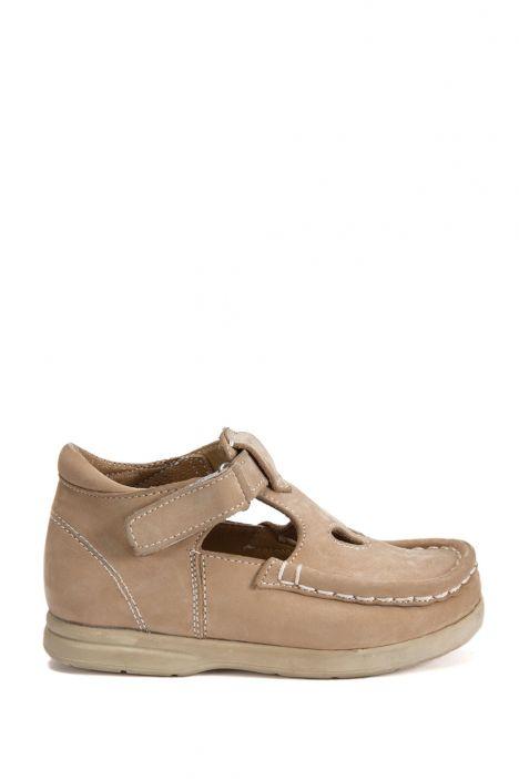 604 Kalite İlk Adım Çocuk Ayakkabısı (Velkrolu) 19-24 Nubuk Bej / Nubuck Beige