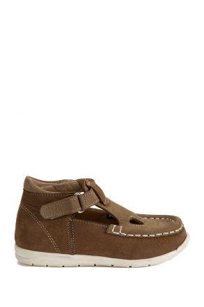 604 Kalite İlk Adım Çocuk Ayakkabısı (Velkrolu) 19-24 Nubuk Taba - Bej / Nubuck Taba - Beige