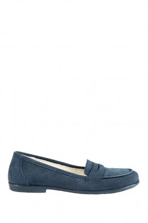 6143F2E Kifidis Melania Hakiki Deri Çocuk Loafer Ayakkabı 30-37 Nubuk Mavi / Nubuck Blue