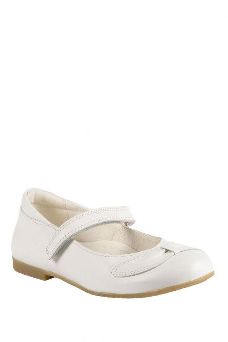 6377F4 Kifidis Melania Hakiki Deri Çocuk Babet 31-37 Beyaz / Bianco