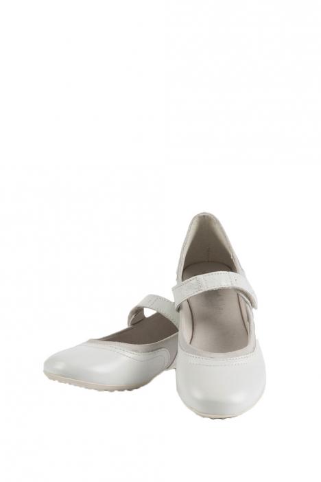 6390F2E Kifidis Melania Hakiki Deri Çocuk Babet 30-37 Beyaz / Bianco