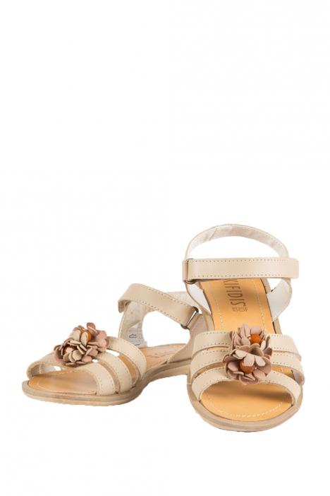 6436F4 Kifidis Melania Hakiki Deri Çocuk Sandalet 31-37 Bej / Beige