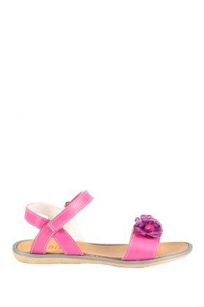 6449F4 Kifidis Melania Hakiki Deri Çocuk Sandalet 31-37 Fuşya / Fuxia