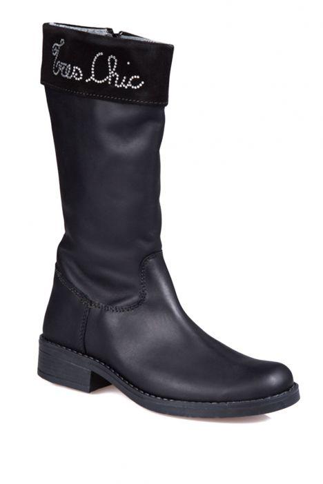 6836F31 Kifidis Melania Hakiki Deri Çocuk Çizme 30-34 Siyah / Nero