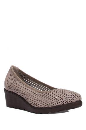 6870-EL Kifidis Deri Dolgu Topuklu Kadın Ayakkabı 36-41