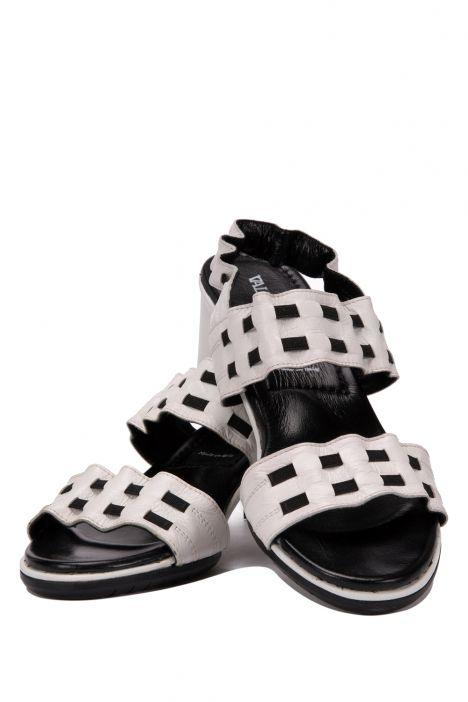 7086 Valleverde Kadın Sandalet 35-41 BEYAZ-SIYAH