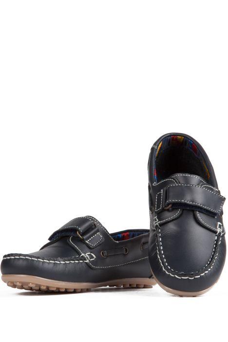 814 Kifidis Angel Hakiki Deri Çocuk Ayakkabı 28-37 Mavi / Marino
