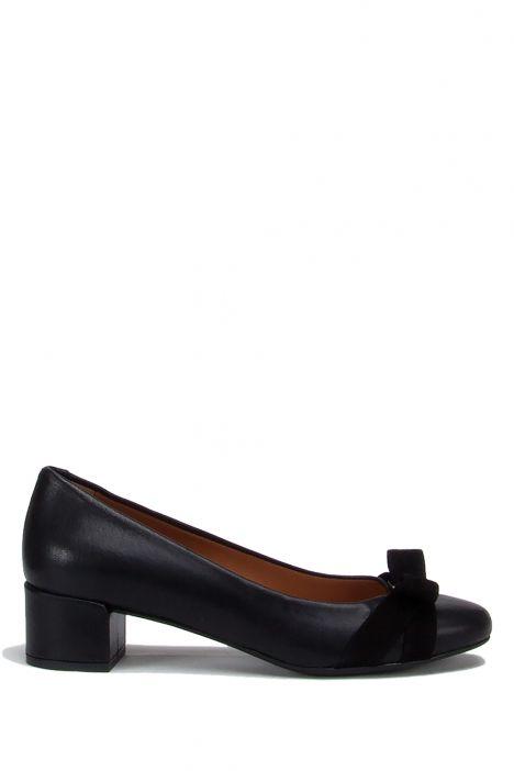 99091 Kifidis Kadın Tokalı Deri Topuklu Ayakkabı 36-41 Siyah Analin